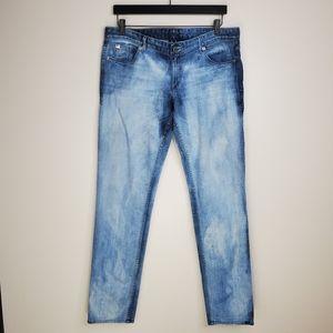 Armani Exchange Straight Leg Acid Wash Jeans